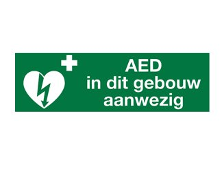 Sticker AED in dit pand aanwezig