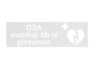 Sticker AED in dit pand aanwezig spiegelbeeld/doorzicht