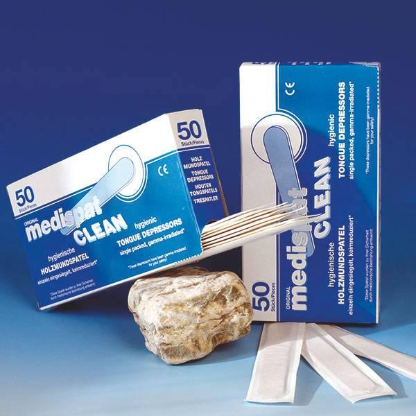 Medispat Clean Holzmundspatel, 50 Stück, steril