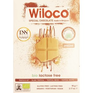 Wiloco Lactosevrije Chocoladereep 'Wit' met Praliné - 90g - BIO