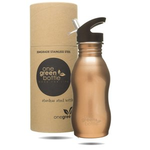 One Green Bottle Curvy - Gold -  met Quench cap - 500ml