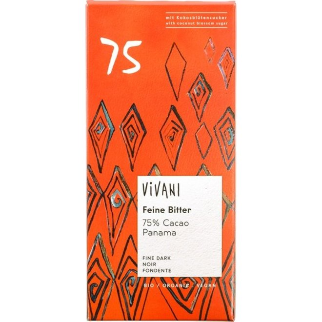Chocoladereep Vivani 75% 80g - BIO