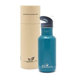One Green Bottle Tough Canteen - Petrol Blue - met Grijze Quench cap - 500ml