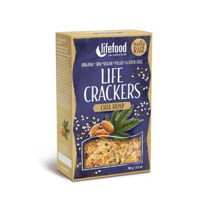 LifeFood Crackers Chia Hennep - 90g - BIO