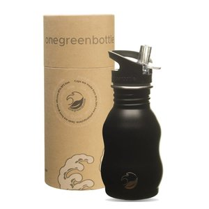 One Green Bottle Curvy - Powder Black - met Quench cap - 350ml