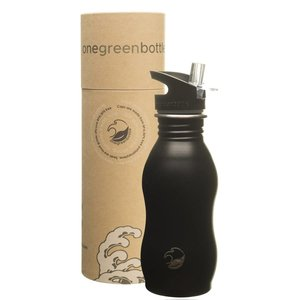One Green Bottle Curvy - Powder Black - met Quench cap - 500ml