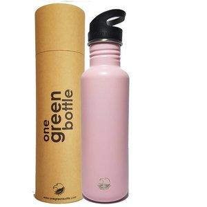 One Green Bottle Tough Canteen - Powder Pink - met Quench cap - 800ml