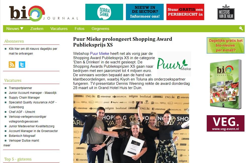 Bio Journaal shopping awards