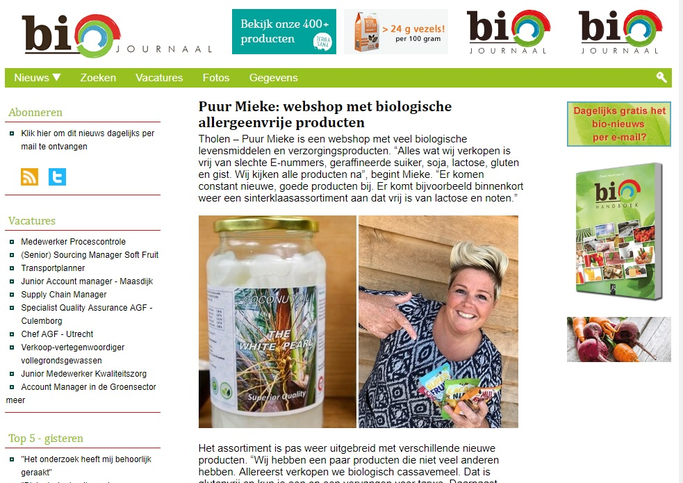 Bio Journaal PuurMieke webshop met biologische allergeenvrije producten