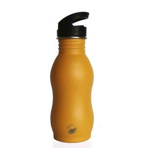 One Green Bottle Curvy - Powder Mustard - met Quench cap - 500ml