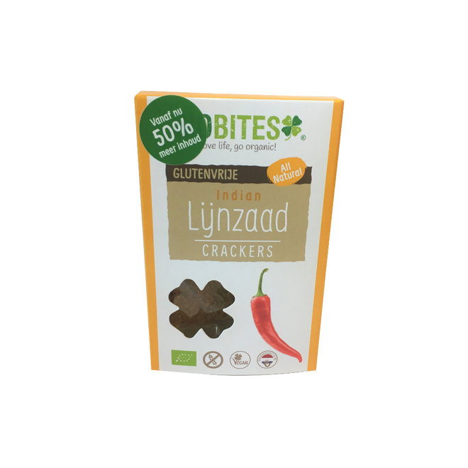 Lijnzaad Crackers Indian - (6st) 90g - BIO