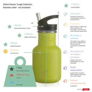 One Green Bottle Tough Canteen - Powder Neon Yellow - met Quench cap - 350ml