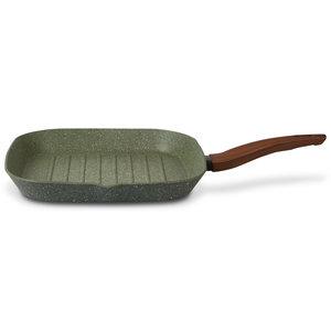 Natura Induction Vierkante grillpan 28cm met hout-look greep - VegeTek