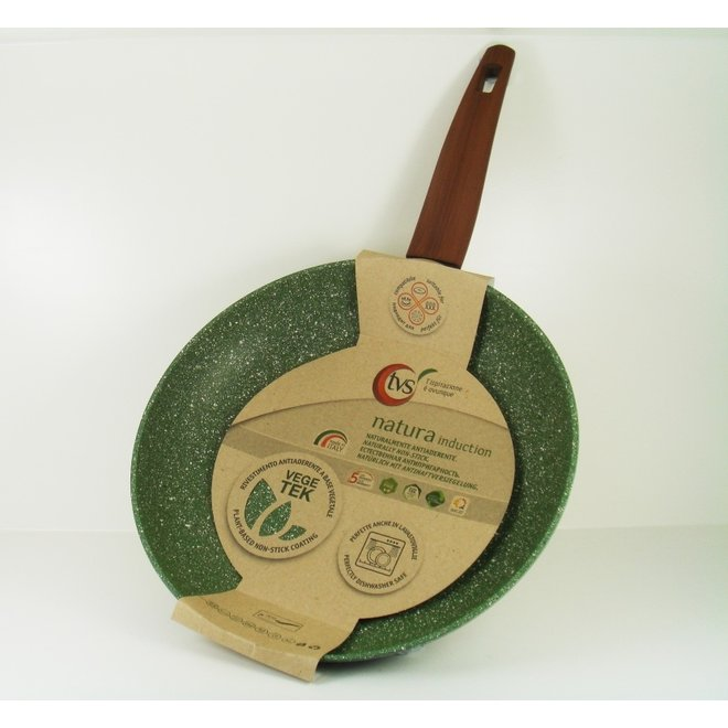 Koekenpan 20cm met hout-look greep - VegeTek