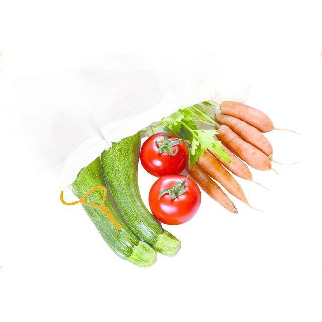 Katoenen zakjes voor groenten en fruit - L - 30x33cm - 5 stuks - BIO