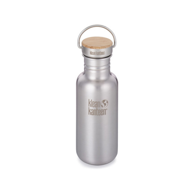 RVS Drinkfles - Bamboo Cap - Brushed Stainless Steel - 532ml