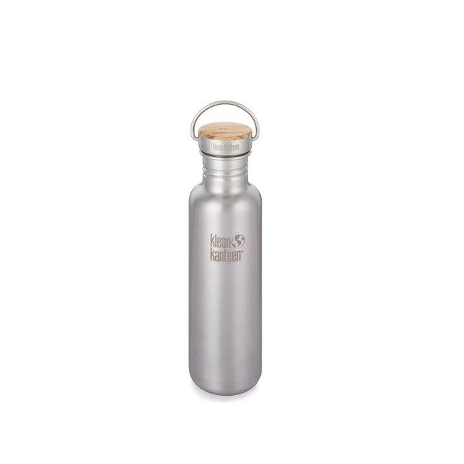 RVS Drinkfles - Bamboo Cap - Brushed Stainless Steel - 800ml