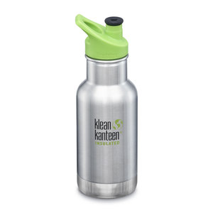 Klean Kanteen RVS thermosfles - Green Sport Cap - Brushed Stainless Steel - 355ml