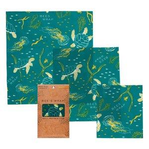 Bee's Wrap Ocean Print Wraps - S/M/L - 3-pack