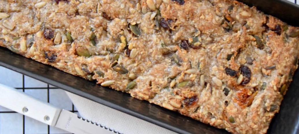 Zaden en pittenbrood van Bakbananenmeel