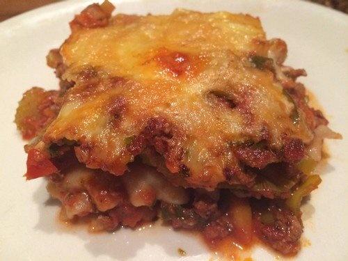 Rijstpasta lasagne recept op bord