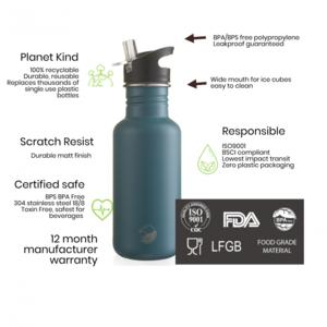 One Green Bottle Touch Canteen - Powder Black - met Quench cap - 500ml