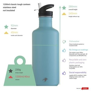 One Green Bottle Tough Canteen - Emerald Green - met Quench cap - 1200ml
