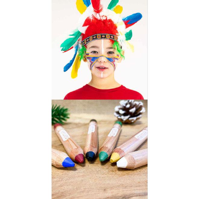 Schminkkrijtjes - 6 kleuren - BIO