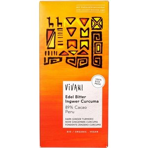Vivani Gember / Kurkuma - Pure chocolade 89% - 80g - BIO