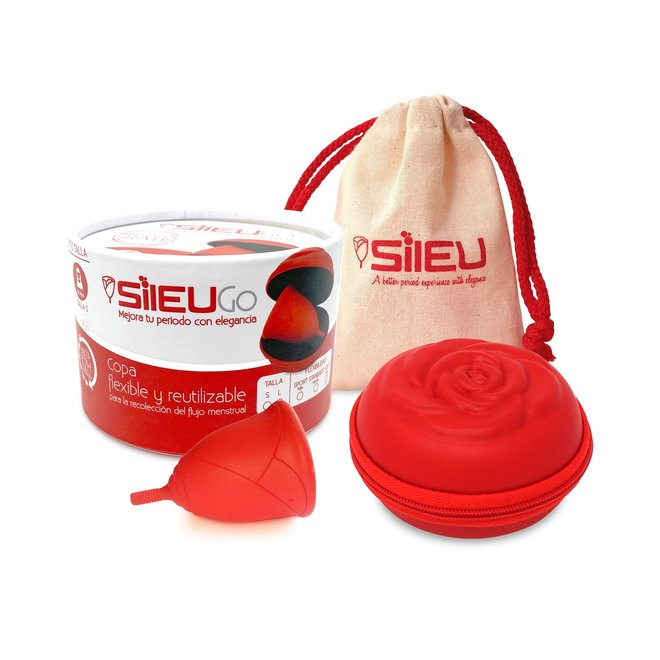 Menstruatiecup Roos rood - Maat S & L - Medium + reistasje