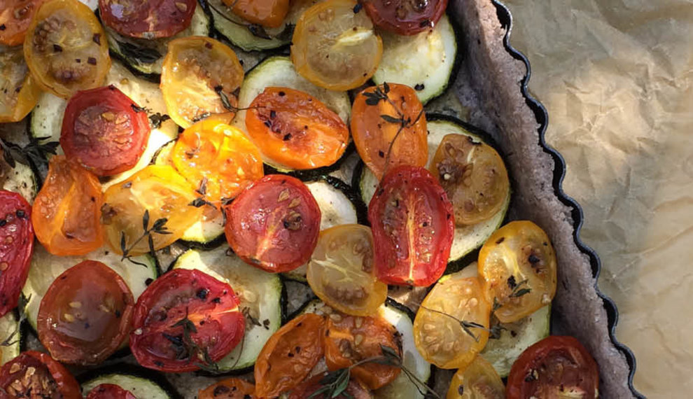 Glutenvrije Quiche met tomaatjes en vegan roomkaas