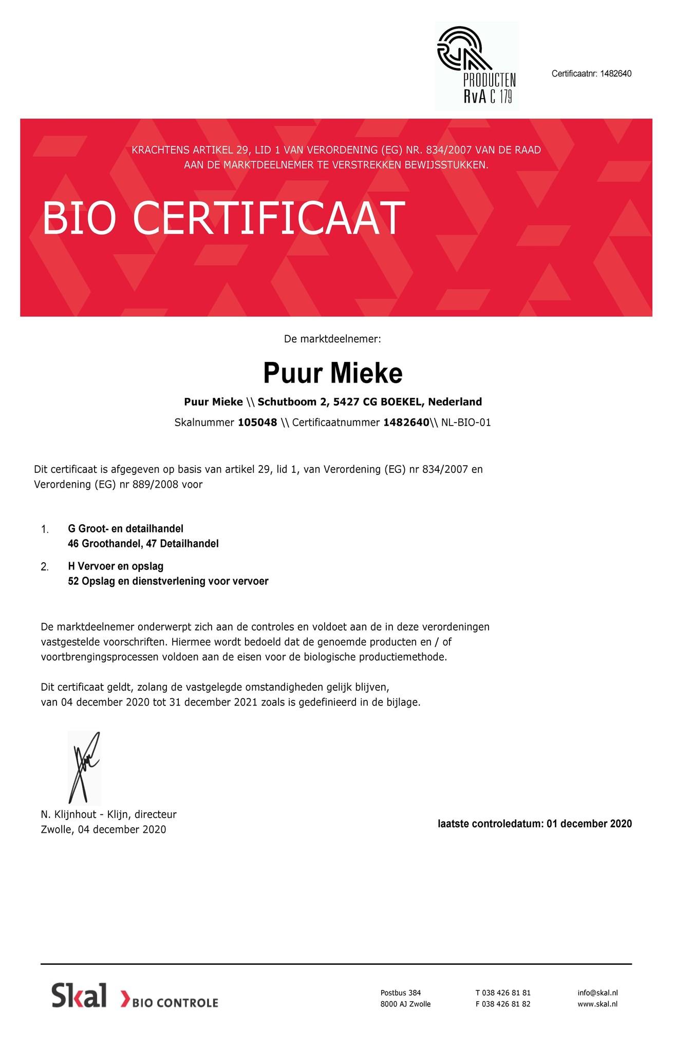 SKAL bio certificaat