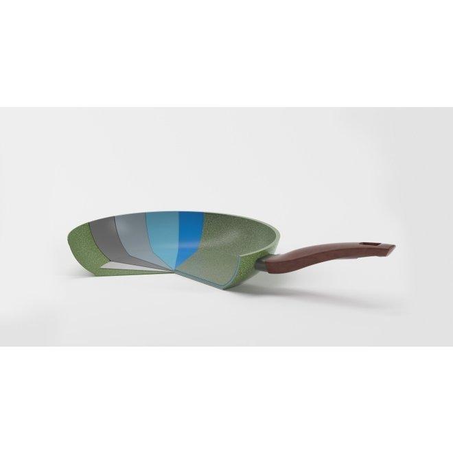 Kookpan 20cm met 2 hout-look grepen + glasdeksel - VegeTek