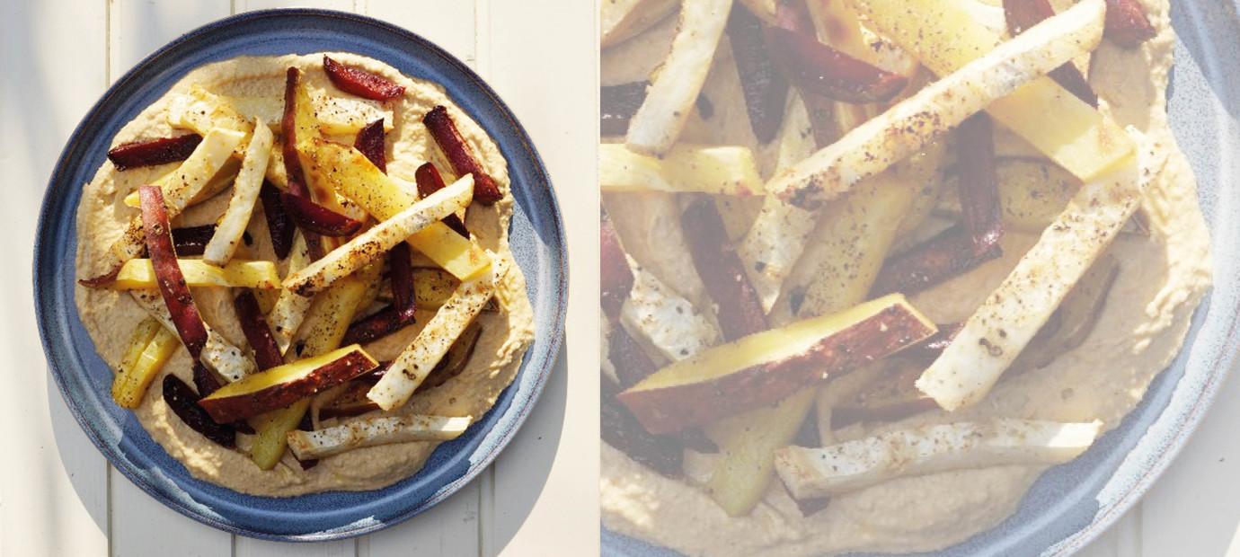 Groentefriet met zelfgemaakte Hummus