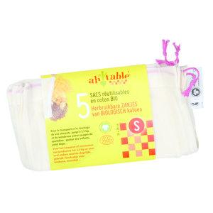 Ah! Table! Katoenen zakjes voor groenten en fruit - S - 20x28cm - 5 stuks - BIO