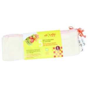 Ah! Table! Katoenen zakjes voor groenten en fruit - L - 30x33cm - 5 stuks - BIO
