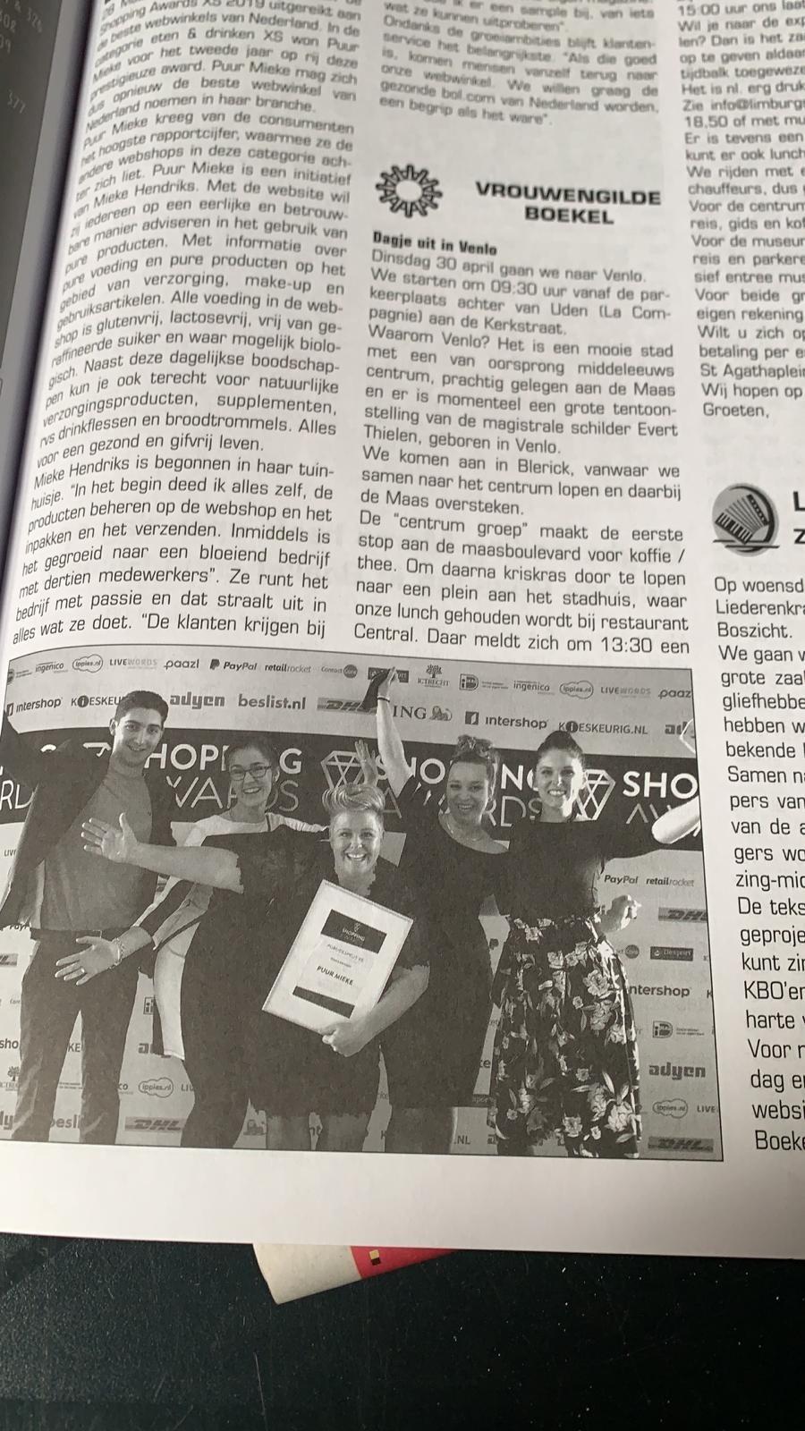 Puur Mieke in de Boekelse krant na winnen Shopping awards 2019
