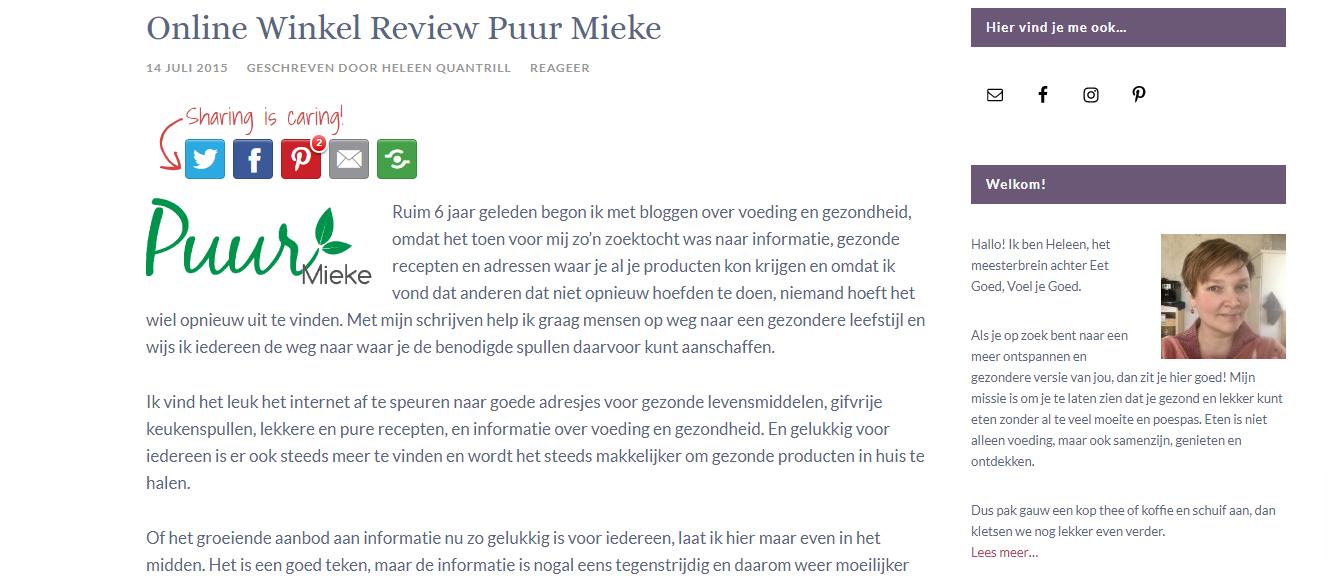 Online Winkel Review Puur Mieke door Heleen van de blog Eet Goed, Voel je Goed.