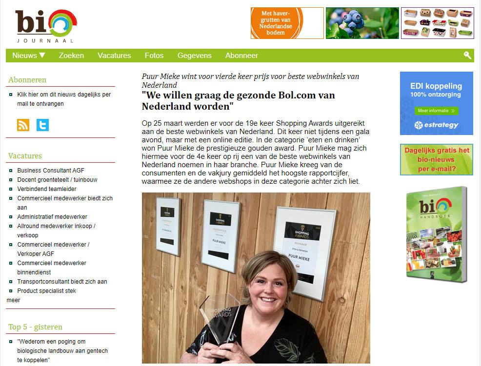 Biojournaal.nl artikel over Puur Mieke betreffende winnen Shopping Awards 2021