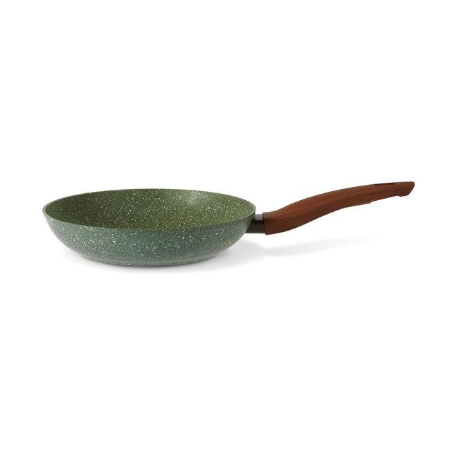 Koekenpan 24cm met hout-look greep - VegeTek