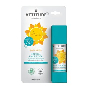 ATTITUDE Baby & Kind Minerale Zonnebrand Stick SPF30 - Parfumvrij - 18,4g
