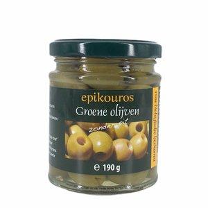 Epikouros Groene olijven zonder pit 190g - BIO