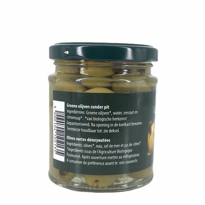 Groene olijven zonder pit 190g - BIO