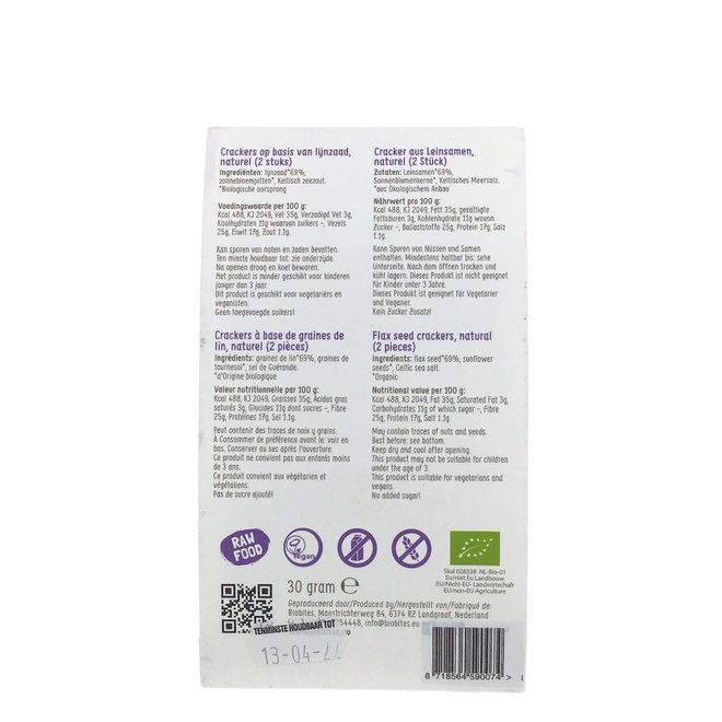 Raw Food Lijnzaad Crackers Naturel - (2st) 30g - BIO