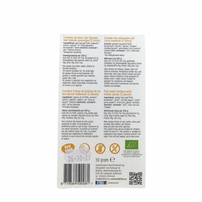 Raw Food Lijnzaad Crackers Indian - (2st) 30g - BIO