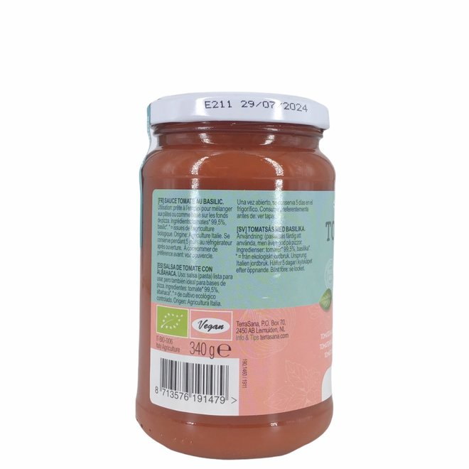 Tomatensaus met basilicum - 340g - BIO