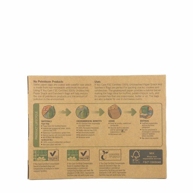 Papieren Boterhamzakjes  48 zakjes - BIO