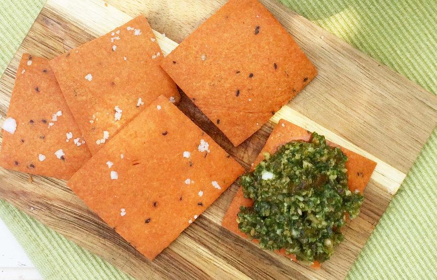 Glutenvrije Crackers met gerookt paprikapoeder