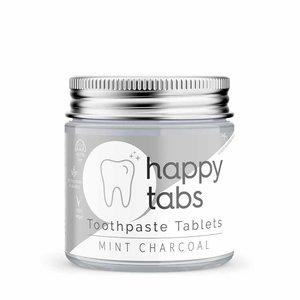 Happy Tabs Fluoride Vrije Tandpasta Tabletten - Mint Charcoal - 80 tabs  + Gratis Bamboe Tandenborstel!