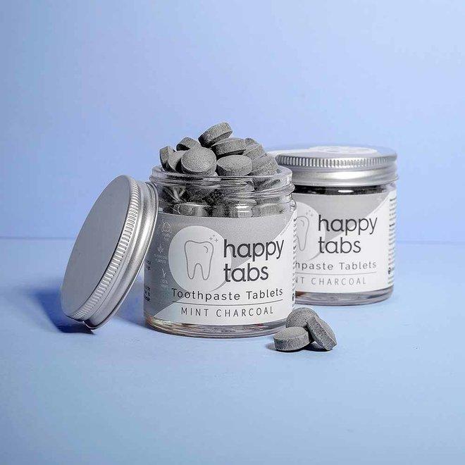 Fluoride Vrije Tandpasta Tabletten Refill - Mint Charcoal - 120 tabs  + Gratis Bamboe Tandenborstel!